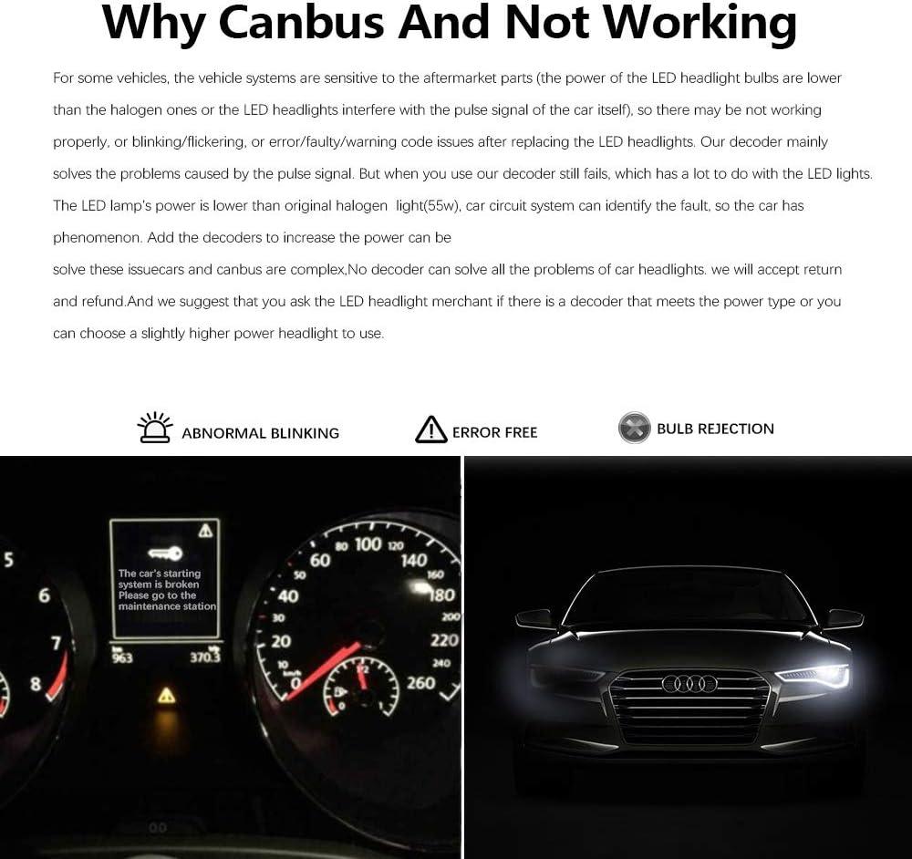AnyCar Led Headlight Decoder H11 H8 Canbus Resistor Anti-flicker ...
