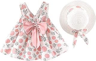 JYC 2019 Baby Girl Dresses Toddler Kids Girl Sleeveless Strap Dot Print Bow Princess Hat