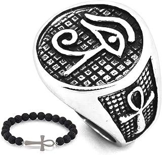 Gungneer Eye of Ra Ankh Cross Ring for Men Biker Accessory Stainless Steel Egyptian Eye Jewelry Talisman Gift