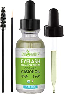 Organic Castor Oil Eyelash Serum By Sky Organics Cold-Pressed, 100% Pure Castor Oil - Dry Skin, Hair Growth, Eyelashes & Eyebrows growth- Caster Oil Lash Enhancer with Mascara Brushes 1 oz (Pack of 1)
