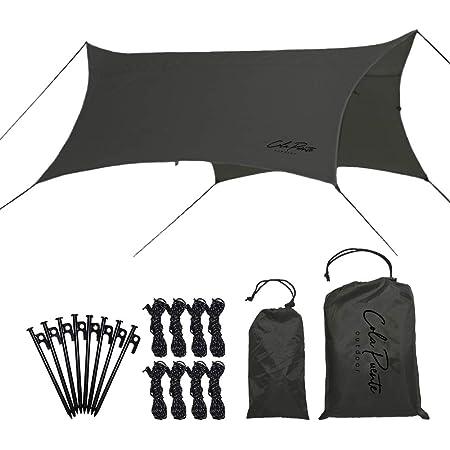ColaPuente(コラプエンテ) タープ ヘキサ テント キャンプ 簡単 軽量 コンパクト 天幕 防水 UVカット シェード アウトドア 収納袋付き