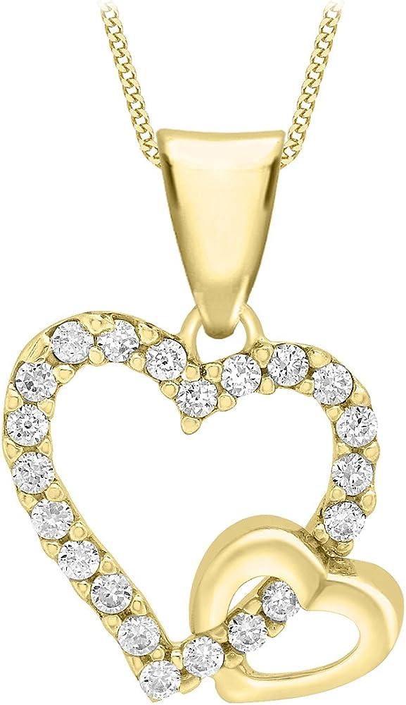 Carissima gold collana con pendente per donna in oro giallo 9k (375) con zirconio cubico 1.43.8234