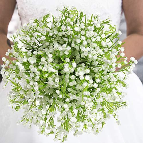Belle Vous Plantas Artificiales Gypsophila (Pack de 8) - 33cm Flores Aliento de Bebé - Flores para...