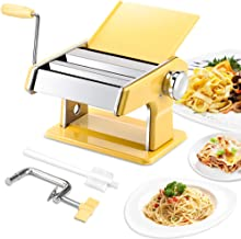 elabo Pasta Machine - Stainless Steel Roller Pasta Maker - 7 Adjustable Thickness Settings Noodles Maker with Hand Crank, ...