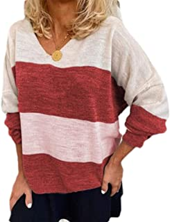 Loyomobak Women's Tee Tops Long Sleeve Color Block V Neck Stripe Blouse T Shirts