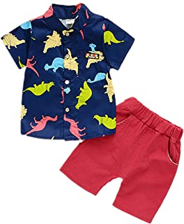 BABICOLOR Baby Boys Summer Clothing Infant Boy Summer Clothes Cute Outfits T-Shirt + Shorts 2pcs(navyblue, 4T)