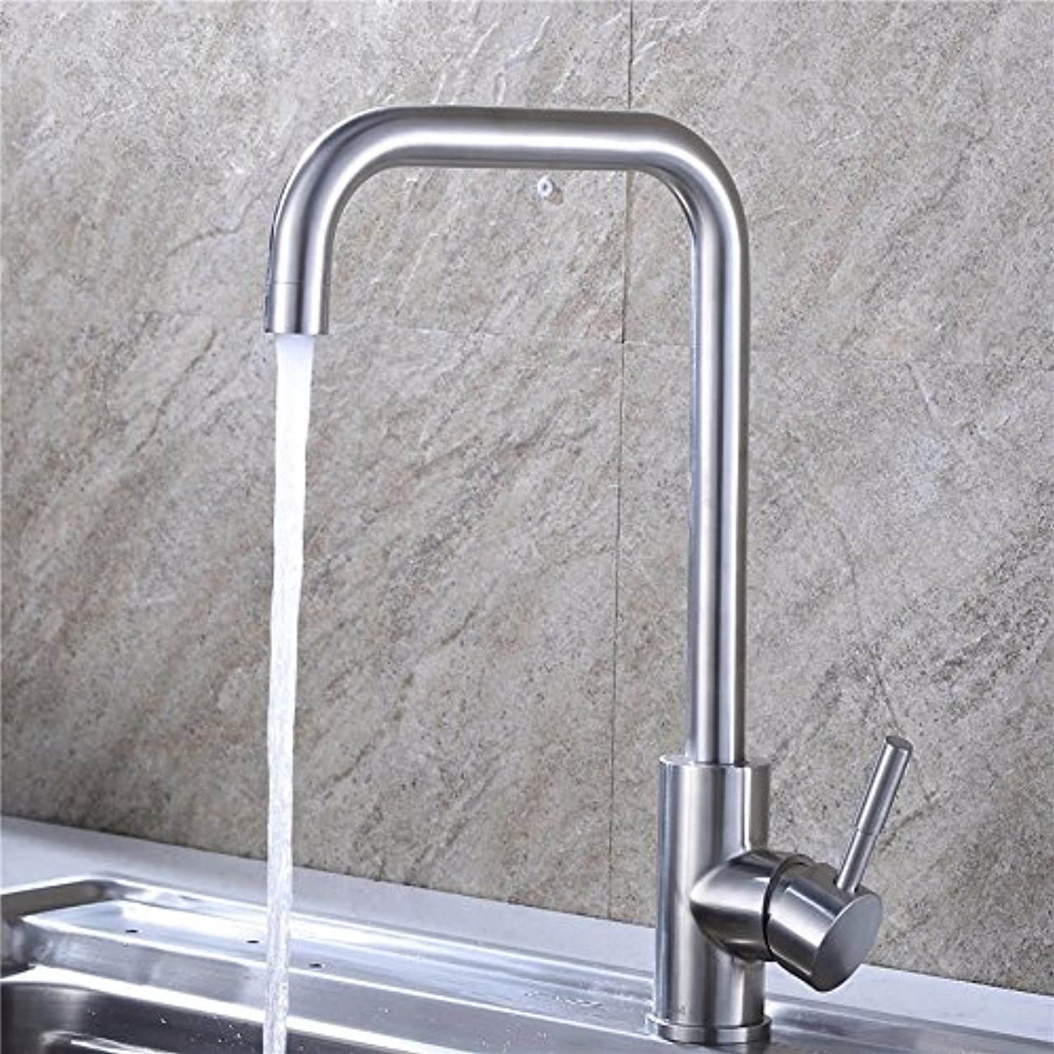 Hlluya Professional Sink Mixer Tap Kitchen Faucet Stainless steel kitchen faucet, kitchen single-seat-in-water taps, B
