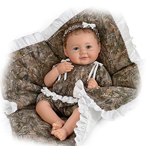 The Ashton-Drake Galleries Fully Poseable Lifelike Baby Girl Doll by Ping Lau with Camo Outfit and Blanket
