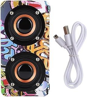 GOTOTOP Bluetooth Speaker, Wooden Dual-Speaker Bluetooth Speaker Subwoofer Hands-Free Call HiFi Music Stereo Subwoofer(Graffiti)