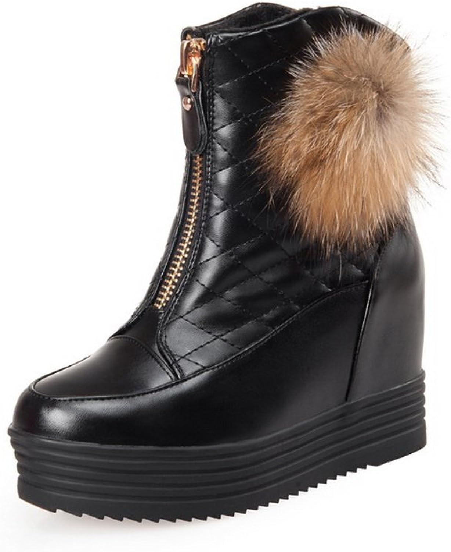 AdeeSu Womens Fur Ornament Fur Ornament Heighten Inside Soft Material Boots