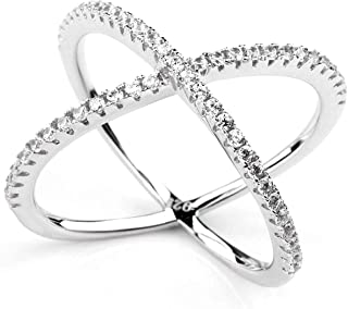 925 Sterling Silver Criss Cross Rings CZ Eternity Engagement Wedding Band