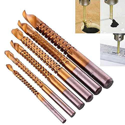 eoocvt 6pcs 3-8mm Titanium HSS Drill & Saw Bit Set Cutting Carpenter Wood Metal