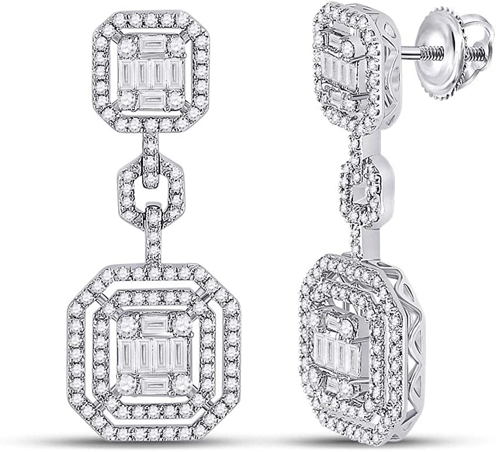 14kt White Gold Max 44% OFF Baguette Excellence Diamond Octagon Earrings 2 Dangle C 1-1