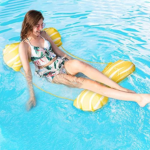 Fostoy Aufblasbare Wasserhängematte, 4 in 1 Luftmatratze Floating Lounge Stuhl für Erwachsene, Badehängematte Schwimmbad Matratze für Pool / Schwimmbad