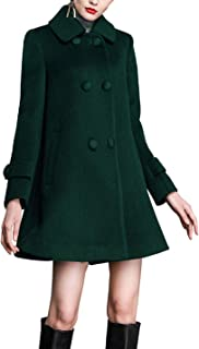 Gihuo Women's Loose Wool Coat Double Breasted Swing Pea Coat