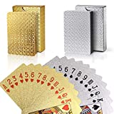 joyoldelf Lot de 2 Jeu de Carte, Cartes de Poker Imperméable en Feuille 24K avec Boîte-Cadeau, Outil de Tours de Magie Classique pour la Fête et Le Jeu, 1 Or + 1 Argent