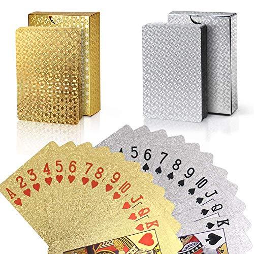 joyoldelf Set Carte da Gioco - Impermeabile Carte da Magia Oro e Carte da Magia Argento per Il Vostro Piacere di Poker (Gold And Silver)