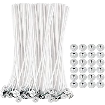 【Premium】100 Pcs 8 inch Candle Wick, Natural Cotton Low Smoke Candle Wick with 50 Metal Tabs for Soy Beeswax Candle Making