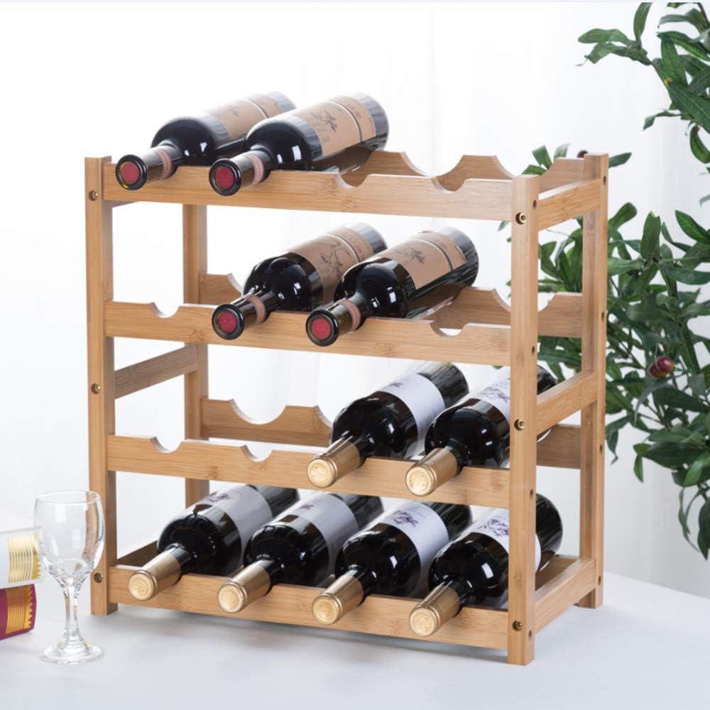 2-Tiers 8-Bottles Wine Rack Fostersource Natural Bamboo Storage Rack Freestanding Countertop Stackable Display Shelf Wine Bottle Holder
