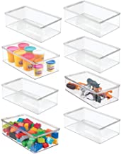 mDesign Stackable Plastic Storage Toy Box Bin with Lid - Container for Organizing Child/Kids Action Figures, Crayons, Mark...