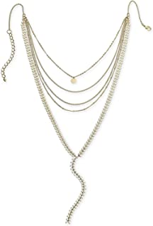 INC International Concepts I.N.C. Gold-Tone Colored Stone Multi-Row Y Necklace, 12