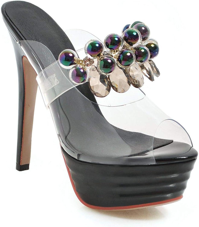 Pink-star 2019 Summer high Heels Slipper Transparent Crystal Super High Heels Waterproof Sandals Female