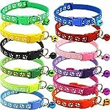 BETOY - Collar para Mascotas con Campanas, Collar Reflectante Personalizado Ajustable, Reutilizable, Felpa Suave, Cuello de Piel de Animal doméstico de para Gatos, Cachorros(12 pcs)
