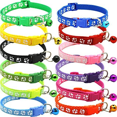 BETOY Pets Collare - Collari per Gatti Personalizzati Sicurezza Fibbia - Dog ID Collare per Gatto/Cane Riflettente Cani Campana Regolabile da 19-32 cm(12 PCS) Colori Misti