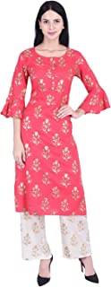 Romaniya Fab Womens Rayon Kurti Palazzo Sets MultiColour