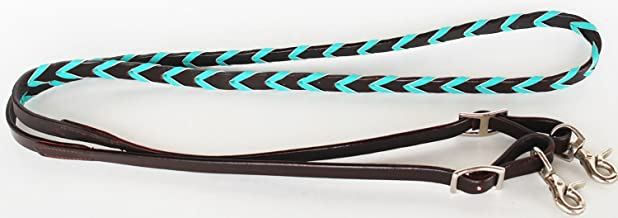 Horse Roping Tack Western Barrel Harness Leather Reins Brown Turquoise 6657TR