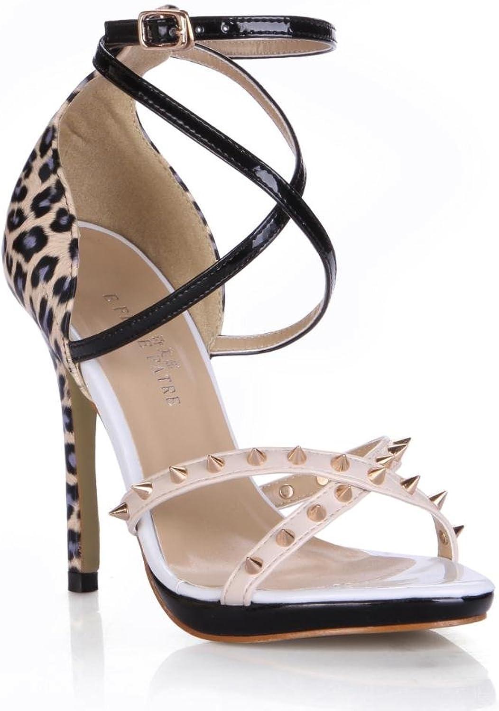 KUKIE Best 4U Frauen Sandalen Sommer Premium PU Peep Toe Rivet Leopard 12 cm High Heels Gummisohle Sommer Schuhe Pumps