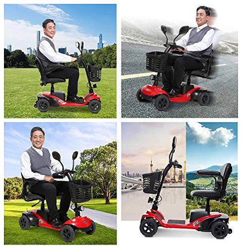 ZHANGYY Light And Compact, Foldable,4 Wheel Power Electric Travel And Mobility Scooter,42Cm Wide Seat,Black Red