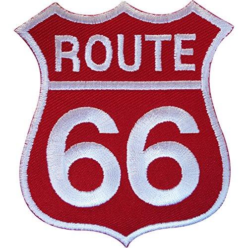 Rojo de la ruta 66Sign parche hierro Sew en bordado ropa insignia Estados Unidos Estados Unidos
