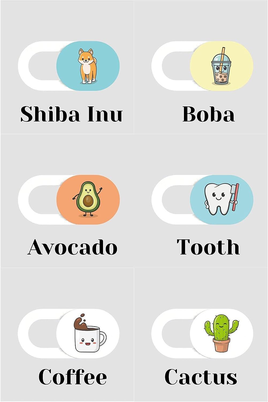 Cute Boba Bubble Tea Webcam Cover Slide for MacBook, Desktop, Laptop, PC, iPad, iPhone - 2 Pack