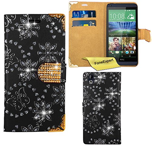 HTC Desire 816 Hülle, FoneExpert® Bling Luxus Diamant Hülle Wallet Hülle Cover Hüllen Etui Ledertasche Premium Lederhülle Schutzhülle für HTC Desire 816 + Bildschirmschutzfolie (Schwarz)