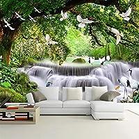 壁紙の壁画大きな壁の絵 自然の風景カスタム3D写真の壁紙緑の森の滝の鳥大きな壁画のリビングルームの寝室の背景壁の装飾-350X250CM