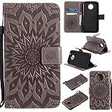 pinlu PU Leder Tasche Etui Schutzhülle für Motorola Moto G6 Plus Lederhülle Schale Flip Cover Tasche mit Standfunktion Sonnenblume Muster Hülle (Grau)