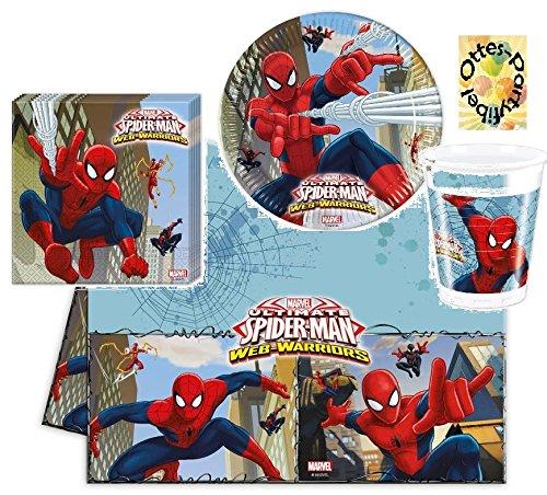 Spiderman Ultimate Web Warriors Teller Becher Servietten Tischdecke 37-teiliges Partyset Spinnenman für 8 Personen