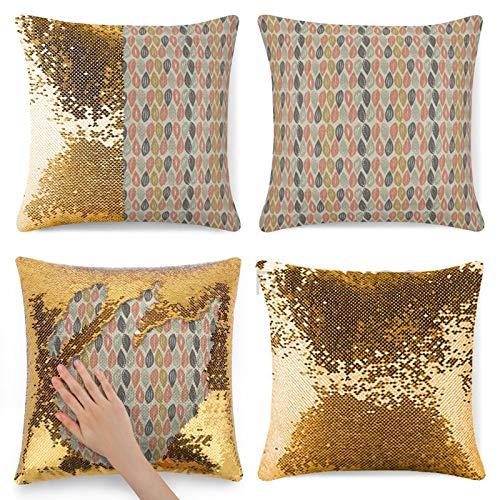 Dom576son Funda de almohada con lentejuelas, diseño de follaje de hojas en colores retro Nature Inspi Tile, funda de almohada de lentejuelas de sirena multicolor, funda de almohada reversible mágica