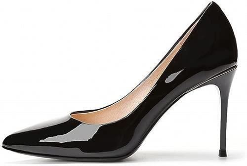 HYW Spitze Fein mit Hohen Fersen Weibliche Frühlings- und Herbstlederlacklederarbeitsschuhe Reizvolle Schwarze Alleinige Schuhe