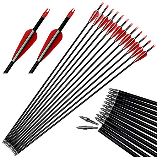 kaimei 32inch Aviation Aluminium Targeting Hunting Arrows for Recurve Bow and Compound Bow with 3inch Blade Field Point and Replaceable Tip 12 Pack