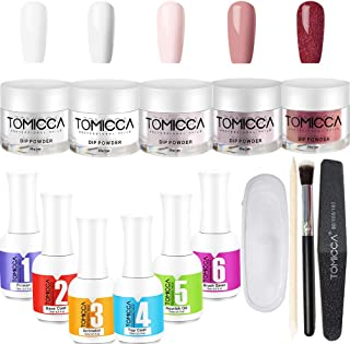 Dip Powder Nail Kit 5 Different Colors 1 OZ Dipping Nail Powders and 6 Essentials-Perfect for Professional DIY Normal and French Manicures NO Need UV/LED lamp, Free Tools and Remover Good Guarantee