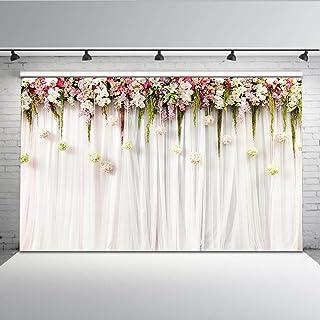 Mehofoto cortina de flores nupcial ducha telón de fondo 7x5ft floral pared lila ceremonia de la boda fondo inconsútiles bebé recién nacido fotografía telones de fondo