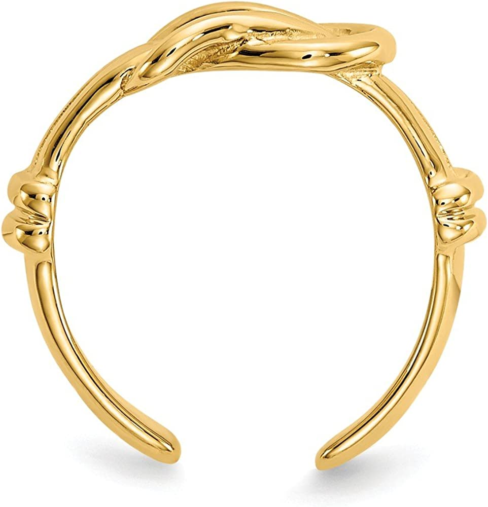 14k Yellow Gold Love Knot Adjustable Cute Toe Ring Set Fine Jewelry For Women Gifts For Her