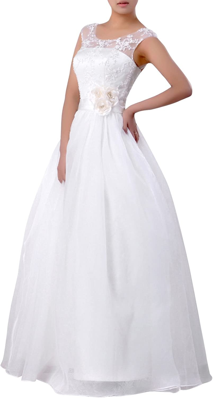 Natrual Bateau Straps Aline Organza Wedding Dress