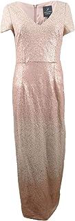 Adrianna Papell Women's Sequin Ombre Short Sleeve V-Neck Slit Long Gown
