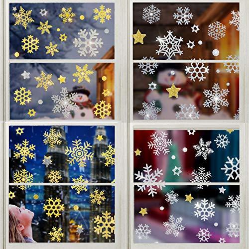 Kapsi Fensterbilder Weihnachten 220 Schneeflocken Fensterbilder Goldene und Silberne Schneeflocke Glitzern Fensteraufkleber Statisch Haftende PVC Aufkleber für Weihnachts Schaufenste (Schneeflocken)