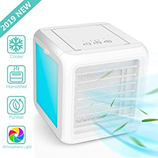 Portable Air Conditioner Cooler, Desk Cooling Fan, 4 in 1 Personal Space Air Cooler, Humidifier, Purifier, Night Light, Support 3 Cooling Speeds, USB Charge Home Outdoor