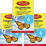 Aeroxon - Fliegenköder für Fenster - 3x6 = 18 Stück Sonderpackung – Schluss mit verklebten Fliegen am Fenster – Jetzt Wirkstoff statt Kleber