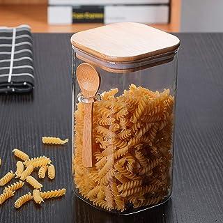 Réservoir De Stockage Des Aliments Pot Scellé En Verre Carré, 1L/1.5L Bocal En Verre Scellé, Réservoir Stockage Grains Caf...